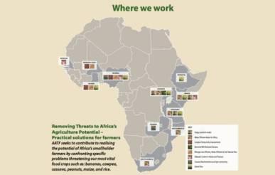 """La Fundación de Tecnología Agrícola de África: """"Donde estamos""""Screengrab del folleto AATF, http://aatf-africa.org/files/files/publications/AATF-brochure.pdf"""